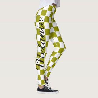 Cute Yoga Colorful Green and White Check Pattern Leggings
