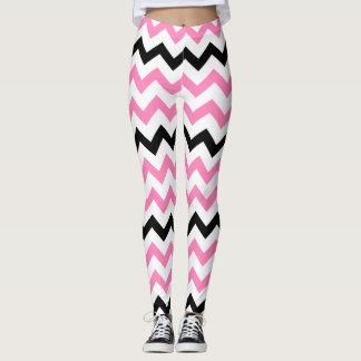 Cute Yoga Pink and Black Chevron Pattern Leggings