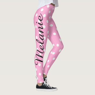 Cute Yoga Pink and White polka Dot Pattern Leggings