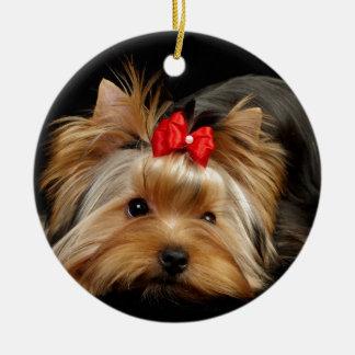 Cute yorkie christmas ornament