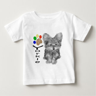 Cute Yorkie Dog and Paw Print Art Gifts Baby T-Shirt