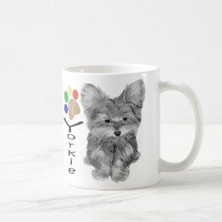 Cute Yorkie Dog and Paw Print Art Gifts Coffee Mug