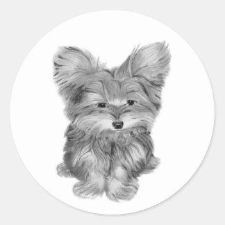 Cute Yorkie Dog Classic Round Sticker