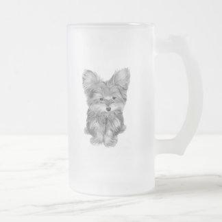 Cute Yorkie Dog Frosted Glass Mug