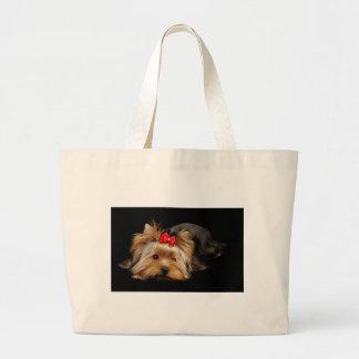 Cute yorkie large tote bag