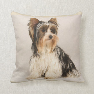 Cute Yorkie Miss Mia  Photo Painting Throw Pillow