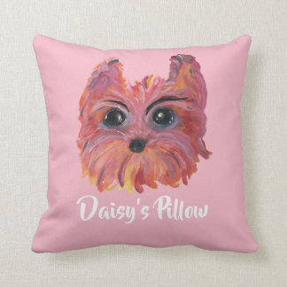 Cute Yorkie Pop Art Painting in Pink and Orange Cushion