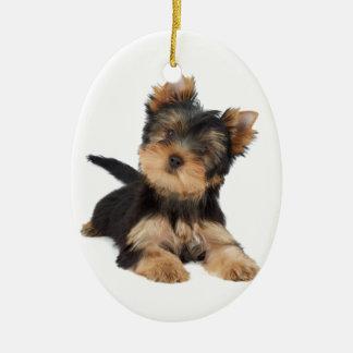 Cute yorkie puppy christmas ornament