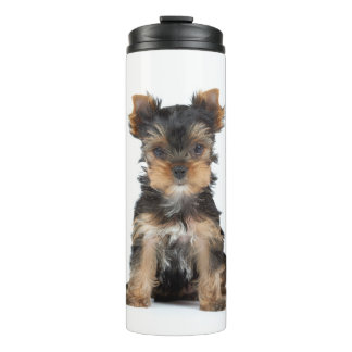 Cute yorkie puppy thermal tumbler