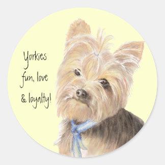 Cute Yorkie, Yorkshire Terrier, Dog, Pet Classic Round Sticker