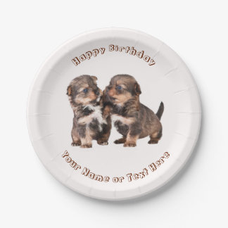 Cute Yorkshire Puppies Paper Plate