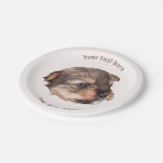 Cute Yorkshire Puppy Face Paper Plate