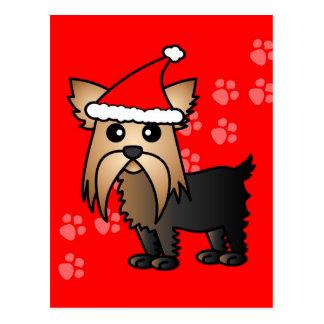 Cute Yorkshire Terrier Cartoon Santa Hat Postcard