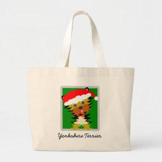 Cute Yorkshire Terrier Christmas Santa Hat Large Tote Bag
