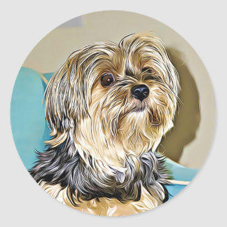 Cute yorkshire terrier digital art classic round sticker