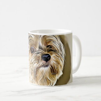 Cute yorkshire terrier digital art coffee mug