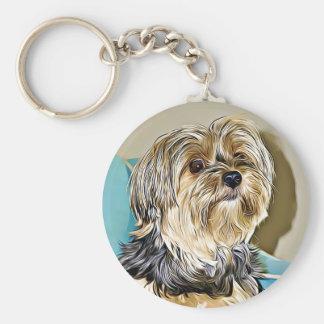 Cute yorkshire terrier digital art key ring