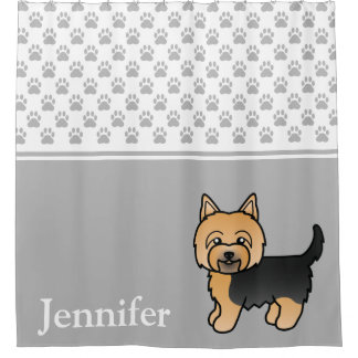 Cute Yorkshire Terrier Dog With Name And Paws Gray Shower Curtain