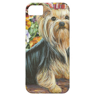 Cute Yorkshire Terrier in Pansy Garden Case For The iPhone 5