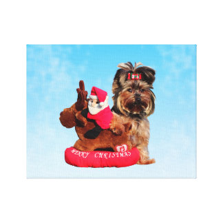 Cute Yorkshire Terrier Merry Christmas Gallery Wrapped Canvas