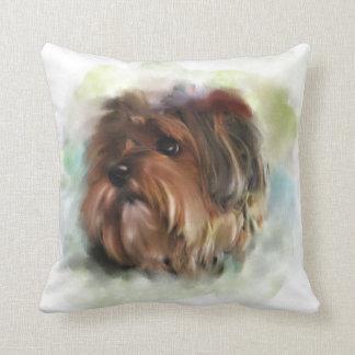 Cute Yorkshire Terrier Puppy Dog Art Throw Pillow