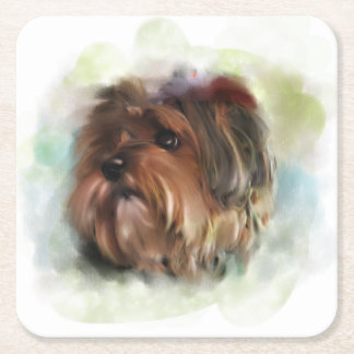 Cute yorkshire terrier puppy dog digital art square paper coaster