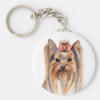 Cute Yorkshire Terrier Puppy Dog Painted Key Chain