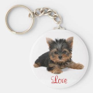Cute Yorkshire Terrier Puppy Love Key Chain