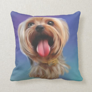 Cute yorkshire terrier,yorkie,digital art cushion