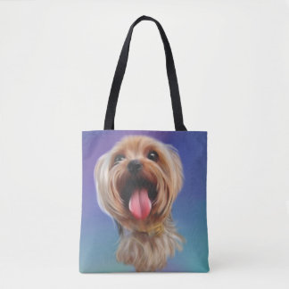 Cute yorkshire terrier,yorkie,digital art tote bag