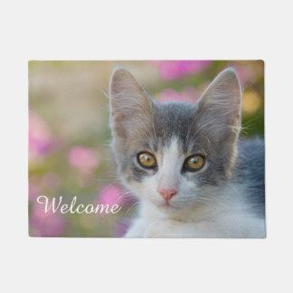 Cute Young Bicolor Cat Kitten Fluffy Photo Welcome Doormat