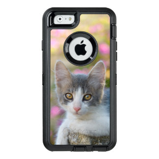 Cute Young Cat Kitten Pink Flowers - Phoneprotect OtterBox Defender iPhone Case