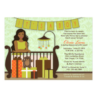 Cute Young Mum in Nursery Baby Shower Invite