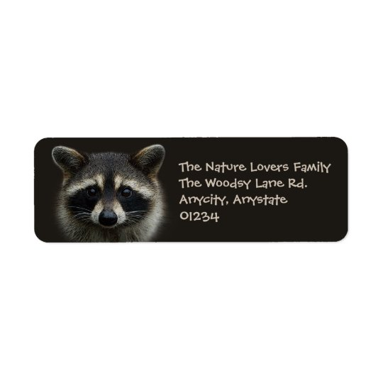 Cute Young Racoon Face Mask Stare Return Address Label