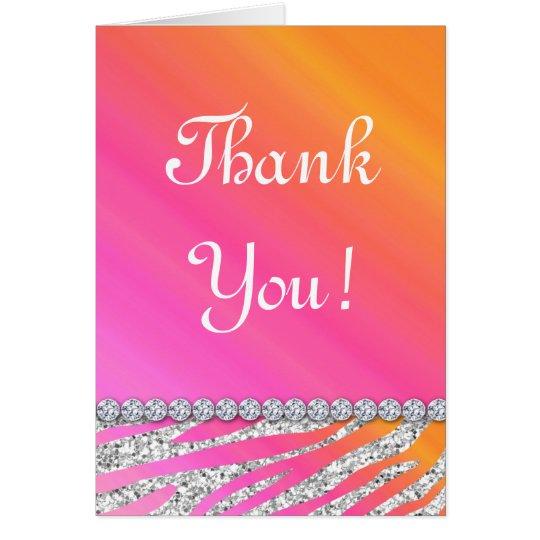 Cute Zebra Bling Glitter Orange Pink Gifts Card