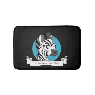 Cute zebra cartoon bath mat