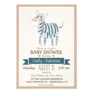 Cute Zebra, Jungle Zoo Animal Baby Shower 13 Cm X 18 Cm Invitation Card