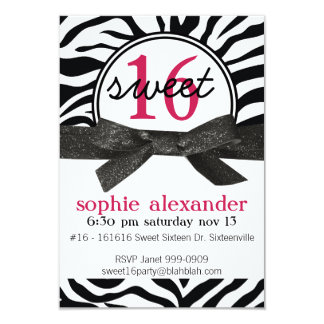 Cute Zebra Pattern Sweet 16 Party Card