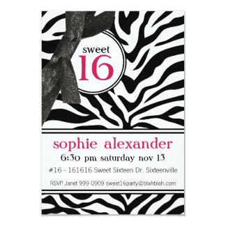 "Cute Zebra Pattern Sweet 16 Party 3.5"" X 5"" Invitation Card"
