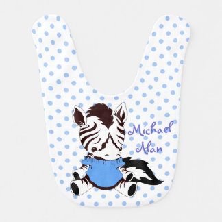 Cute Zebra Personalized Polka Dot Bib