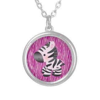 Cute Zebra & Pink Texture Animal Print Necklace
