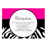 Cute Zebra Print Custom Hot Pink Reception Info Large Business Cards (Pack Of 100)