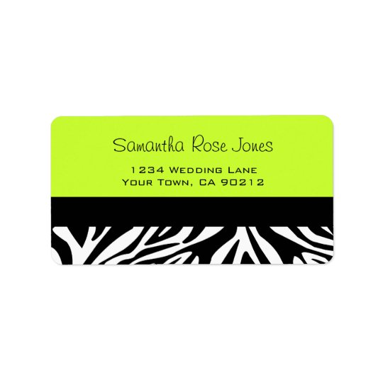 Cute Zebra Print Custom Lime Green Address Label