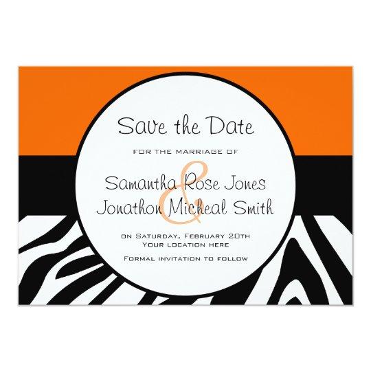 Cute Zebra Print Custom Orange Save the Date Card