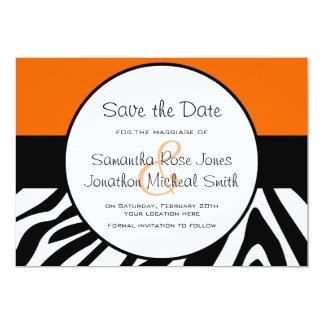 Cute Zebra Print Custom Orange Save the Date 13 Cm X 18 Cm Invitation Card