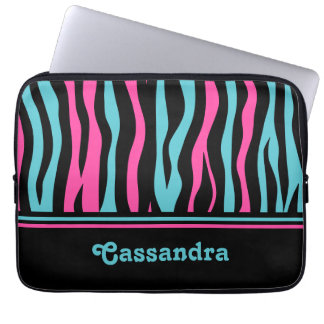 Cute zebra print punk in hot pink, black, and blue laptop computer sleeves