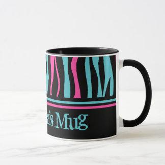 Cute zebra print punk in hot pink, black, and blue mug