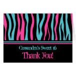 Cute zebra print punk thank you sweet 16 card