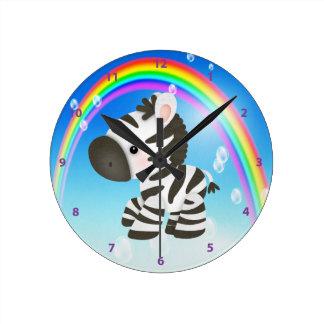 Cute Zebra & Rainbow Clock