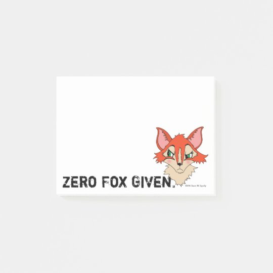 Cute Zero Fox Given Red Orange Fox Post-it